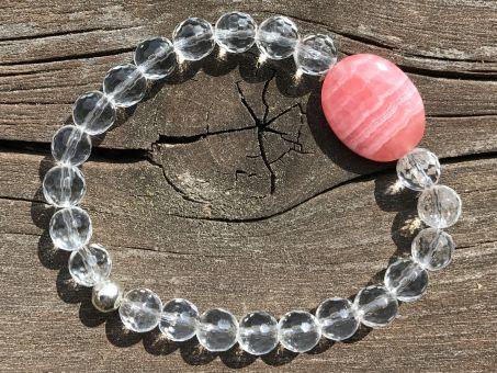 Rhodochrosit mit Bergkristall Armband