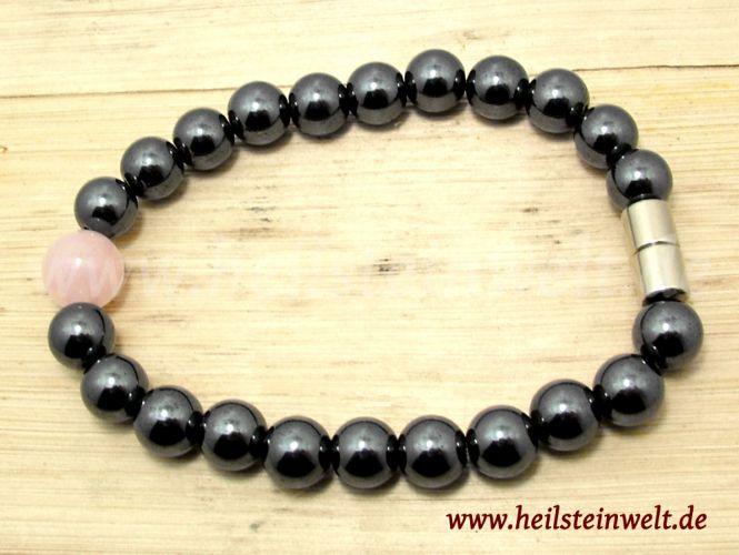 heilsteinwelt rosenquarz magnetarmband heilsteine kaufen edelsteine trommelsteine bedeutung. Black Bedroom Furniture Sets. Home Design Ideas